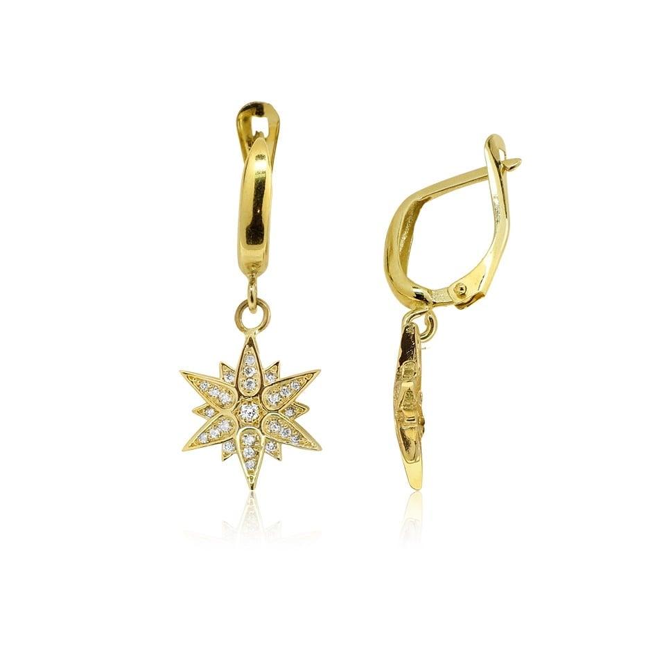 עגילי יהלומים 0.40 קראט נתלים בסגנון כוכב בזהב 14 קרט