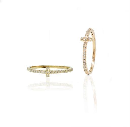 טבעת זהב יהלומים בר