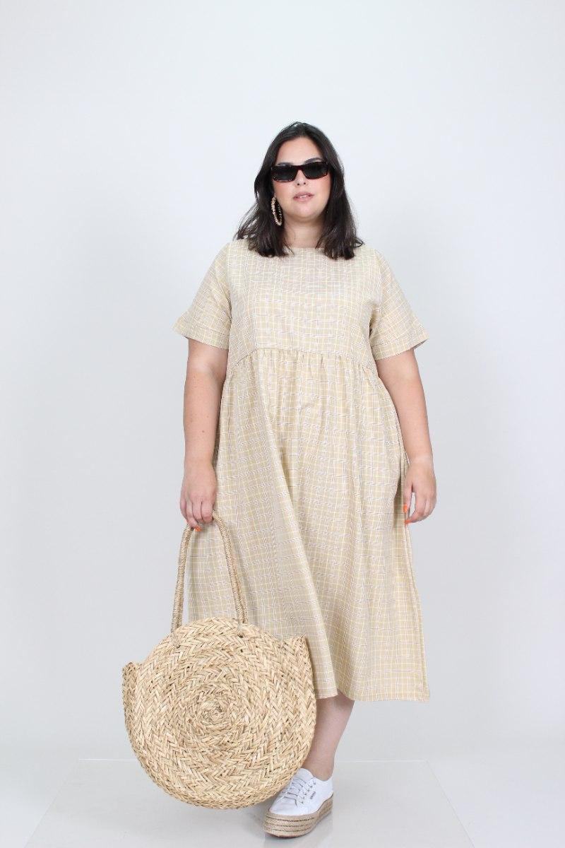 שמלת בריטני צהוב משובץ