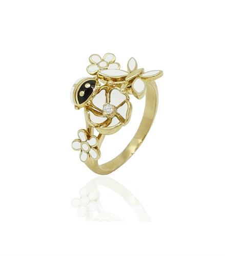 טבעת זהב מלאת נוכחות לאישה עם זרקון