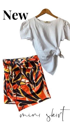 חצאית מעטפת מיני פרינט כתום