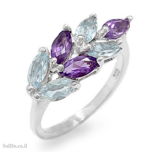 טבעת מכסף משובצת אבני טופז כחולות ואמטיסט  RG8764   תכשיטי כסף 925   טבעות כסף