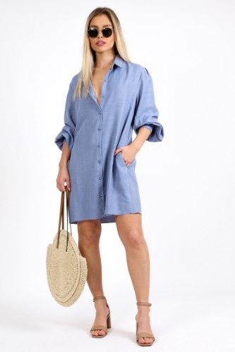 שמלת טיאה קצרה כחול/בז
