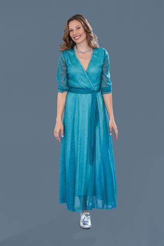 שמלת ערב מקסי טורקיז