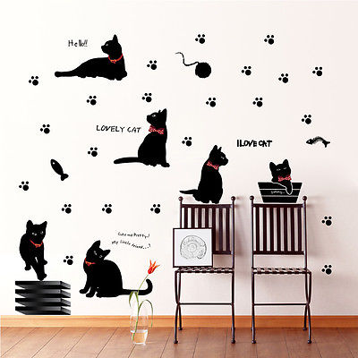מדבקות קיר Lovely black cats