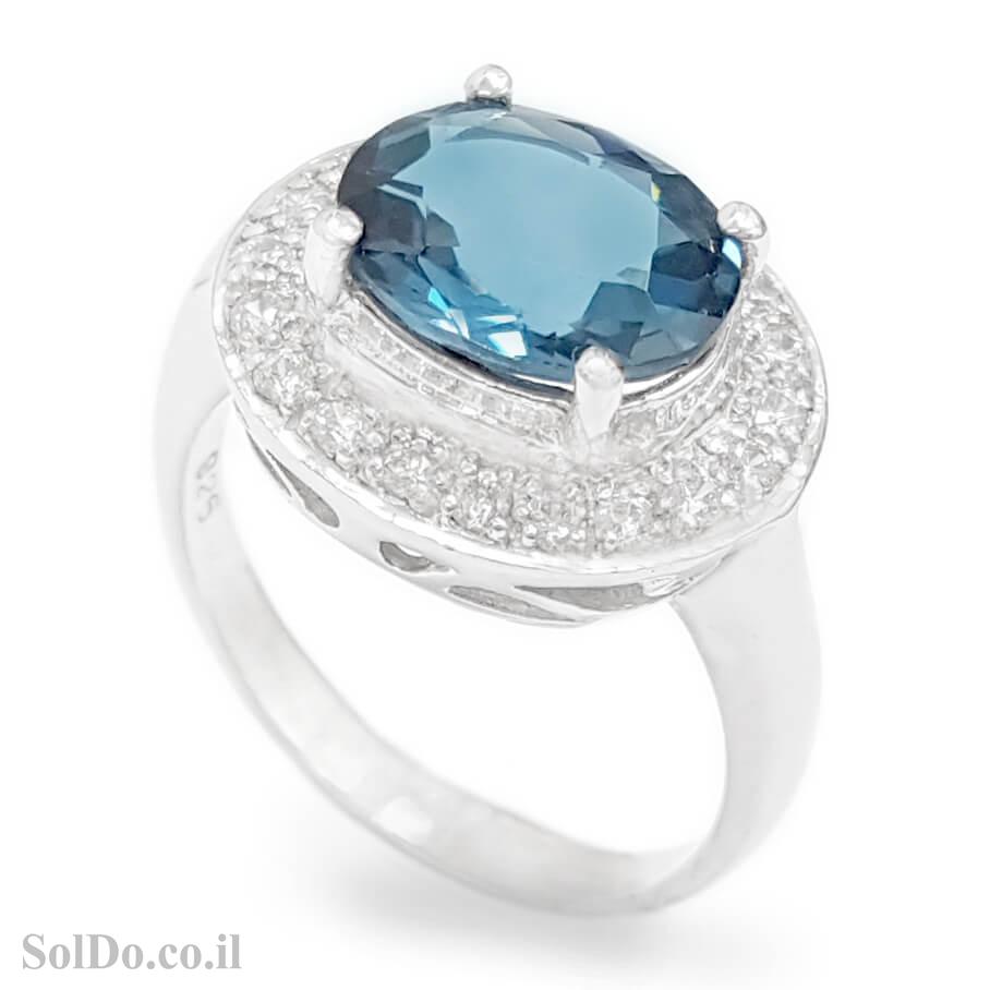 טבעת מכסף משובצת אבן טופז כחולה  וזרקונים RG6145 | תכשיטי כסף 925 | טבעות כסף