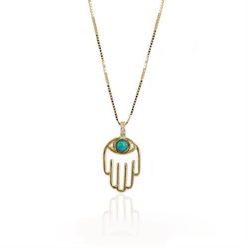 שרשרת זהב עם תליון חמסה לאישה