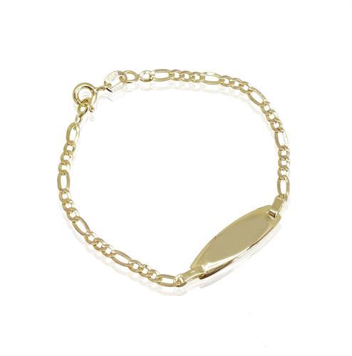 צמיד זהב חריטה לילד עם שרשרת פיגרו