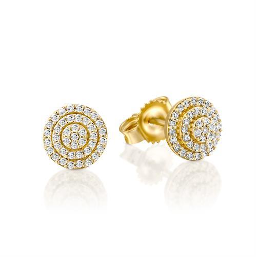 עגילי פריחת השושנים משובצים יהלומים בזהב צהוב או לבן 14 קראט