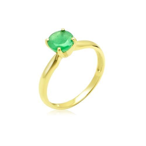 טבעת זהב משובצת אמרלד 1.2 קראט