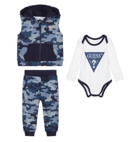 חליפת בייבי 3 חלקים GUESS קומופלאג׳ כחול - 0-12 חודשים