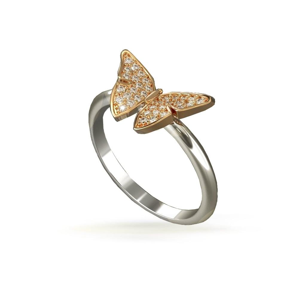 טבעת פרפר | טבעת בסגנון פרפר משובץ יהלומים בזהב 14 קאראט