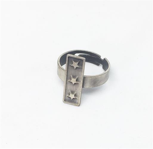 טבעת כוכבים פס כסף