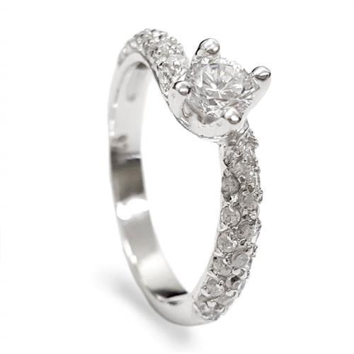 טבעת כסף משובצת זרקון סוליטר 5mm ואבני זרקון בצדדים RG5573 | תכשיטי כסף | טבעות כסף