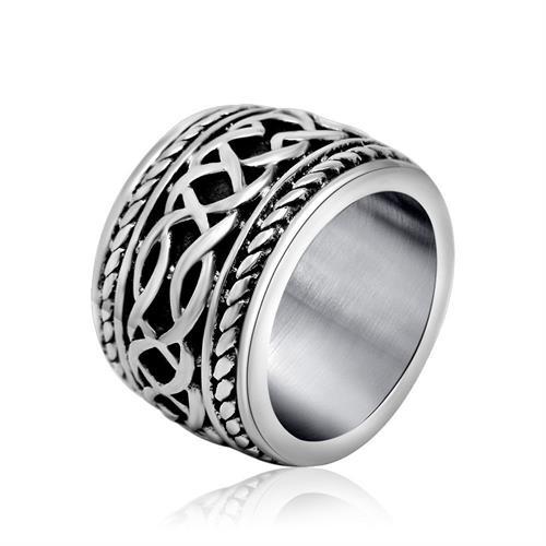 טבעת פלדת אל-חלד רחבה לגברים / נשים