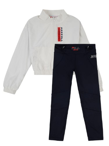 חליפת עליונית לבנה וטייץ שחור FILA - מידות 6-16