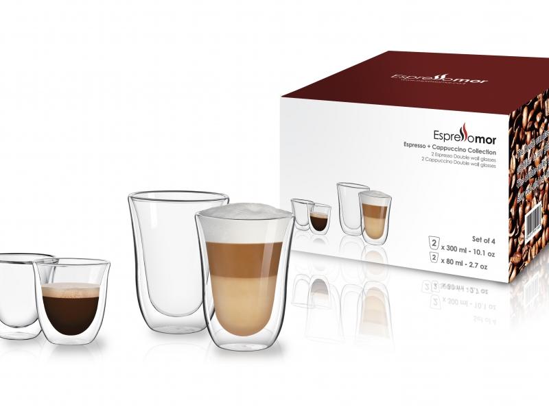 """מארז ספיישל -2 כוסות אספרסו + 2 כוסות קפה 300 מ""""ל"""
