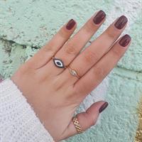 טבעת זהב עין הרע עם זרקונים ואמייל
