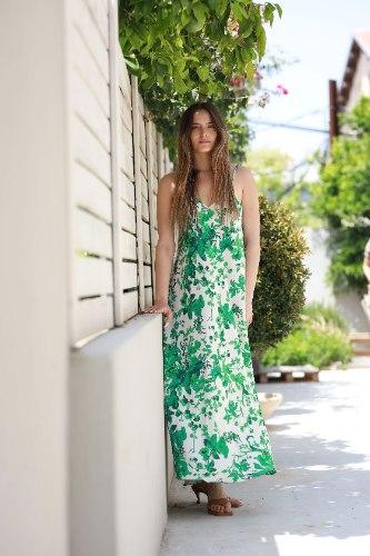 שמלת סאטן פרחים