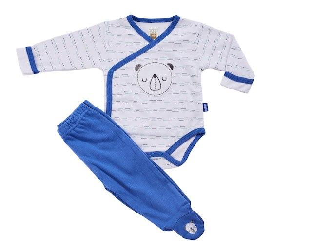 חליפת חזייה דב פנדה לבן-כחול פלנל