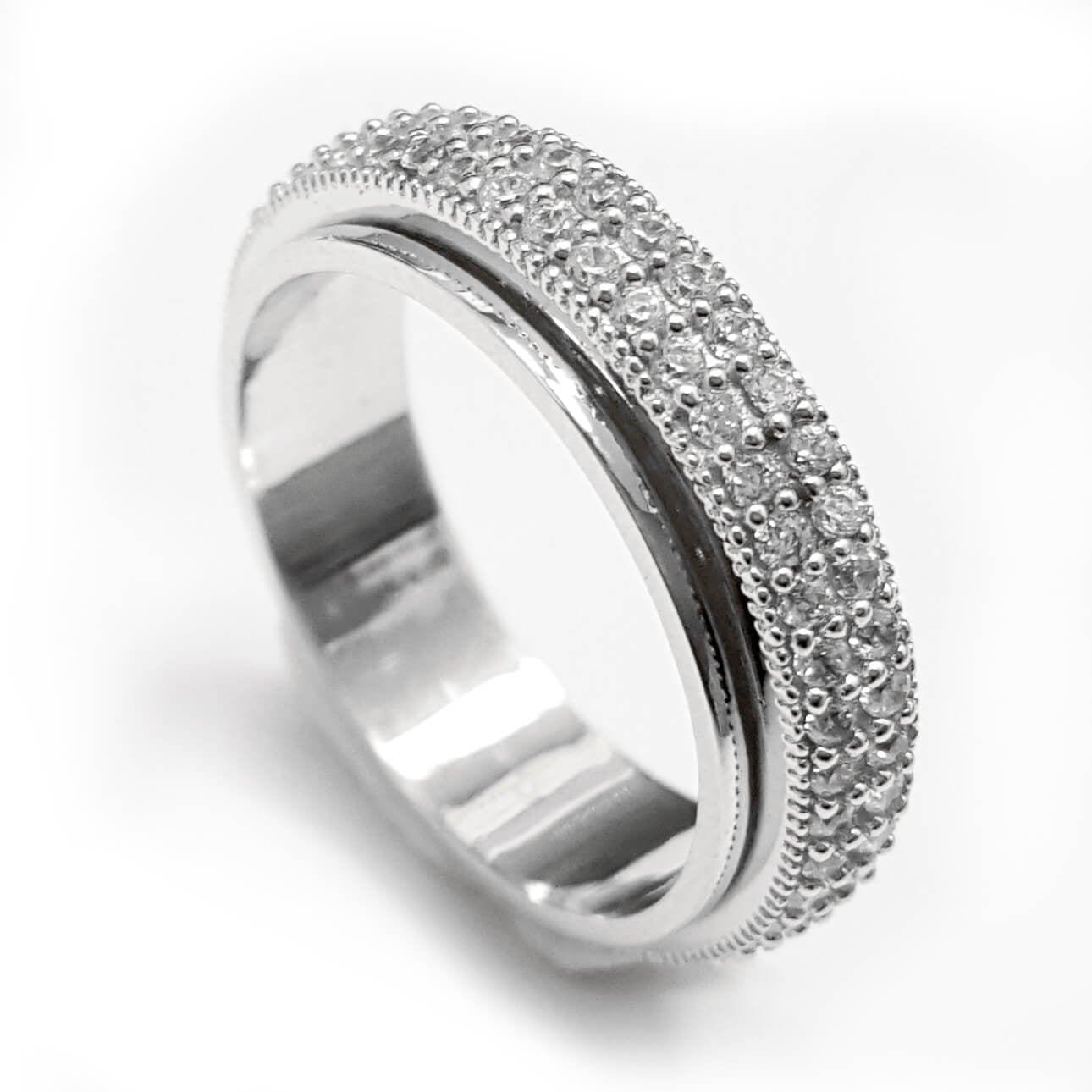 טבעת כסף מסתובבת משובצת אבני זרקון נוצצות RG5545 | תכשיטי כסף | טבעות כסף