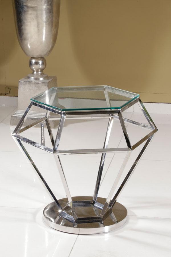 שולחן יהלום זכוכית שקופה נירוסטה ADAGIO NICKEL 65*65*5 מגיע בצבע: Nicke