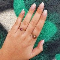 טבעת בסגנון פרח רובי ויהלומים 0.50 קראט עשויה בזהב 14 קראט