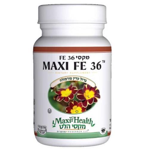 """-- ברזל עדין FR36 --  מכיל 100 טבליות, 36 מ""""ג, Maxi Health"""