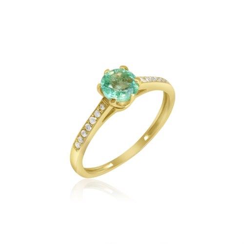 טבעת זהב דגם מיכל עם אבן אמרלד ויהלומים