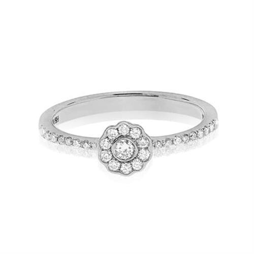 טבעת זהב לבן 14 קראט בצורת פרח משובצת יהלומים 0.25 קראט