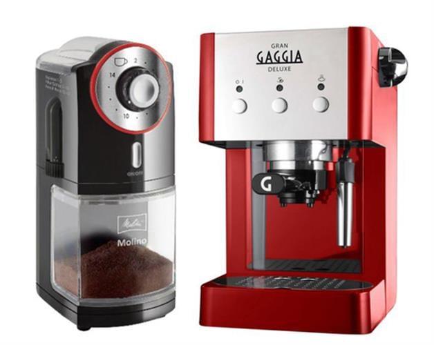 מכונת קפה ידנית גגאיה גרן דה לוקס + מטחנה מליטה מולינו
