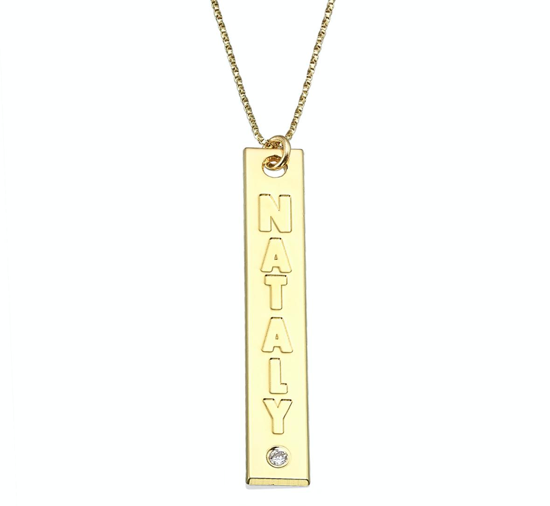 שרשרת בר זהב 14K לאורך עם יהלום