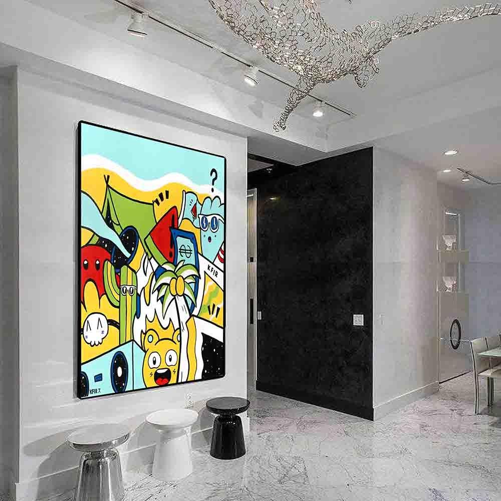 ציור גרפיטי צבעוני לעיצוב המשרד של האמן כפיר תג'ר