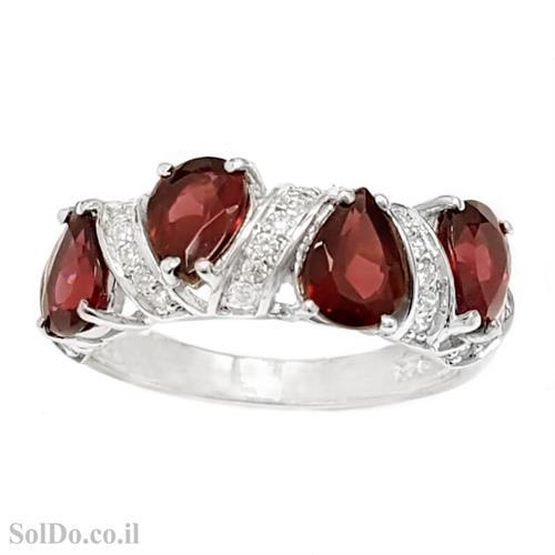 טבעת מכסף משובצת אבני גרנט ואבני זרקון RG6175 | תכשיטי כסף 925 | טבעות כסף