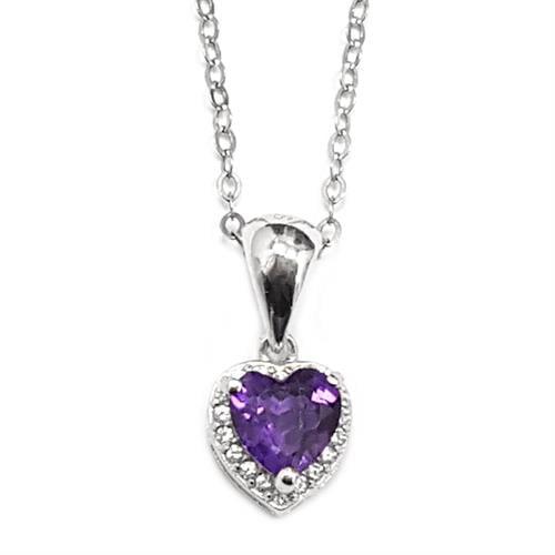 תליון כסף בצורת לב משובץ אבן אמטיסט וזרקונים T5935 | תכשיטי כסף