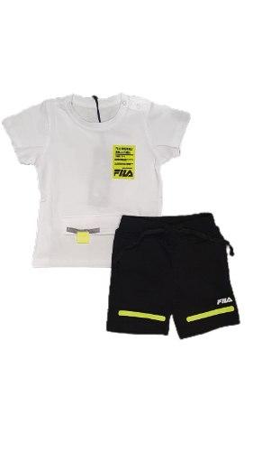 חליפת תינוקות לבנה לוגו צהוב FILA