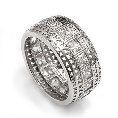 טבעת כסף רחבה משובצת אבני זרקון מרובעות RG5772 | תכשיטי כסף | טבעות כסף