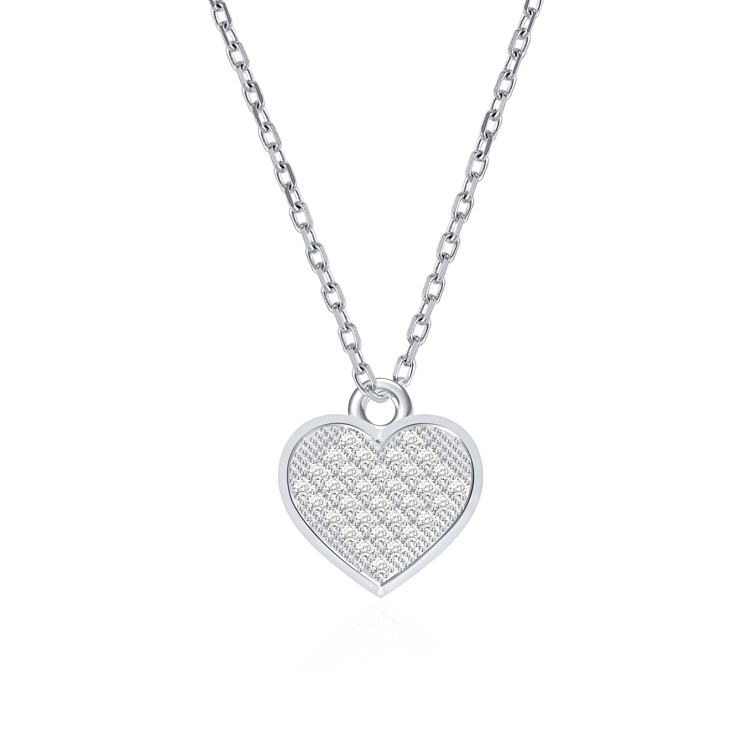 תליון ושרשרת זהב לבן 14 קראט לב משובץ יהלומים