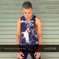 tie dye sleeveless t-shirt with dropped armhole גופייה טאי דאי