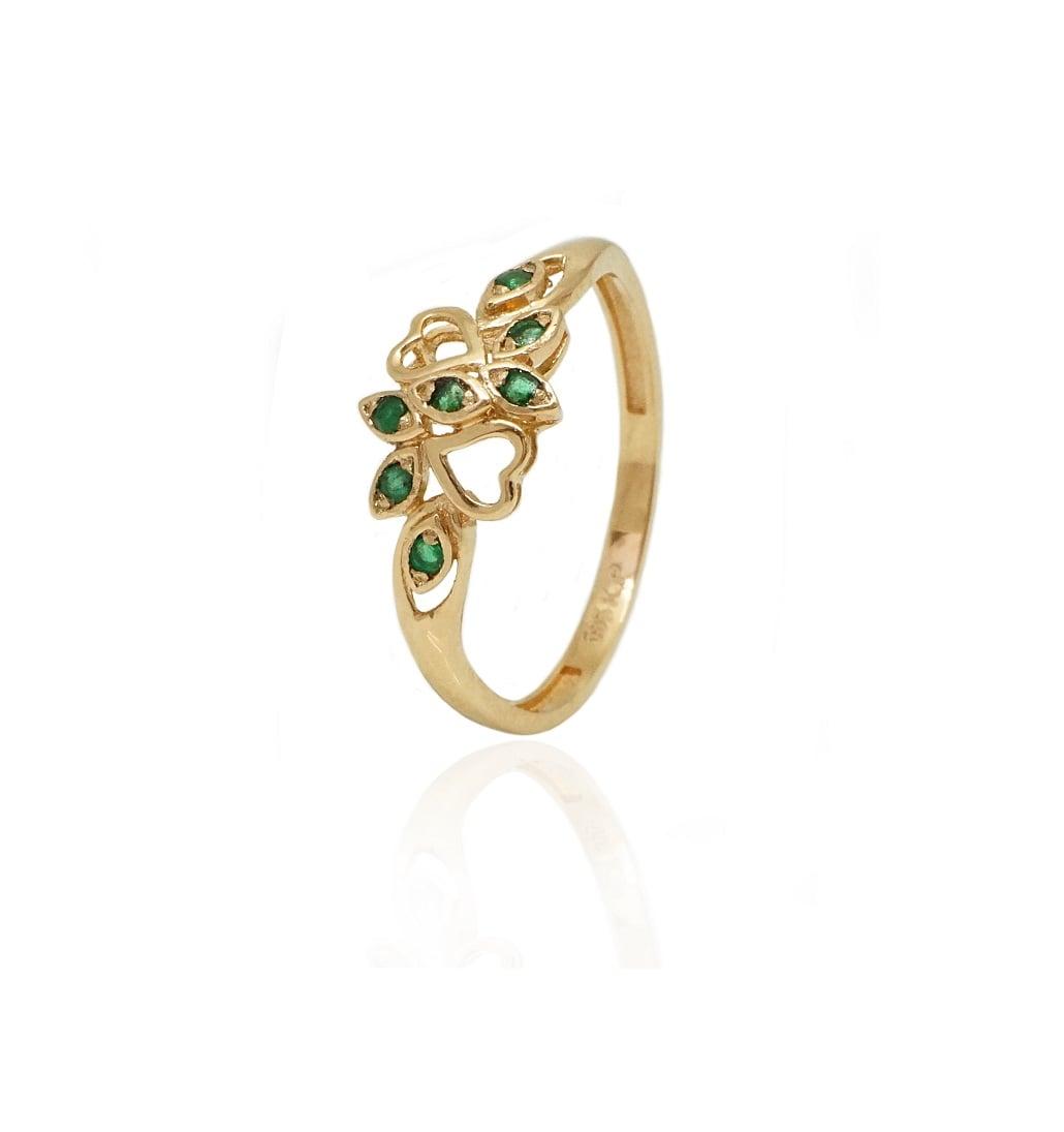 טבעת זהב וינטאג מיוחדת עם אבן חן אמרלד
