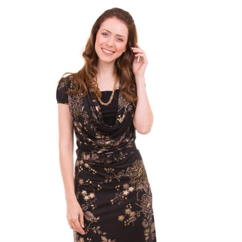 Gold Floral Nursing Dress