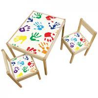 3 יח' טפט דביק מותאם לשולחן וכסאות (LATT)-ידיים עם צבע