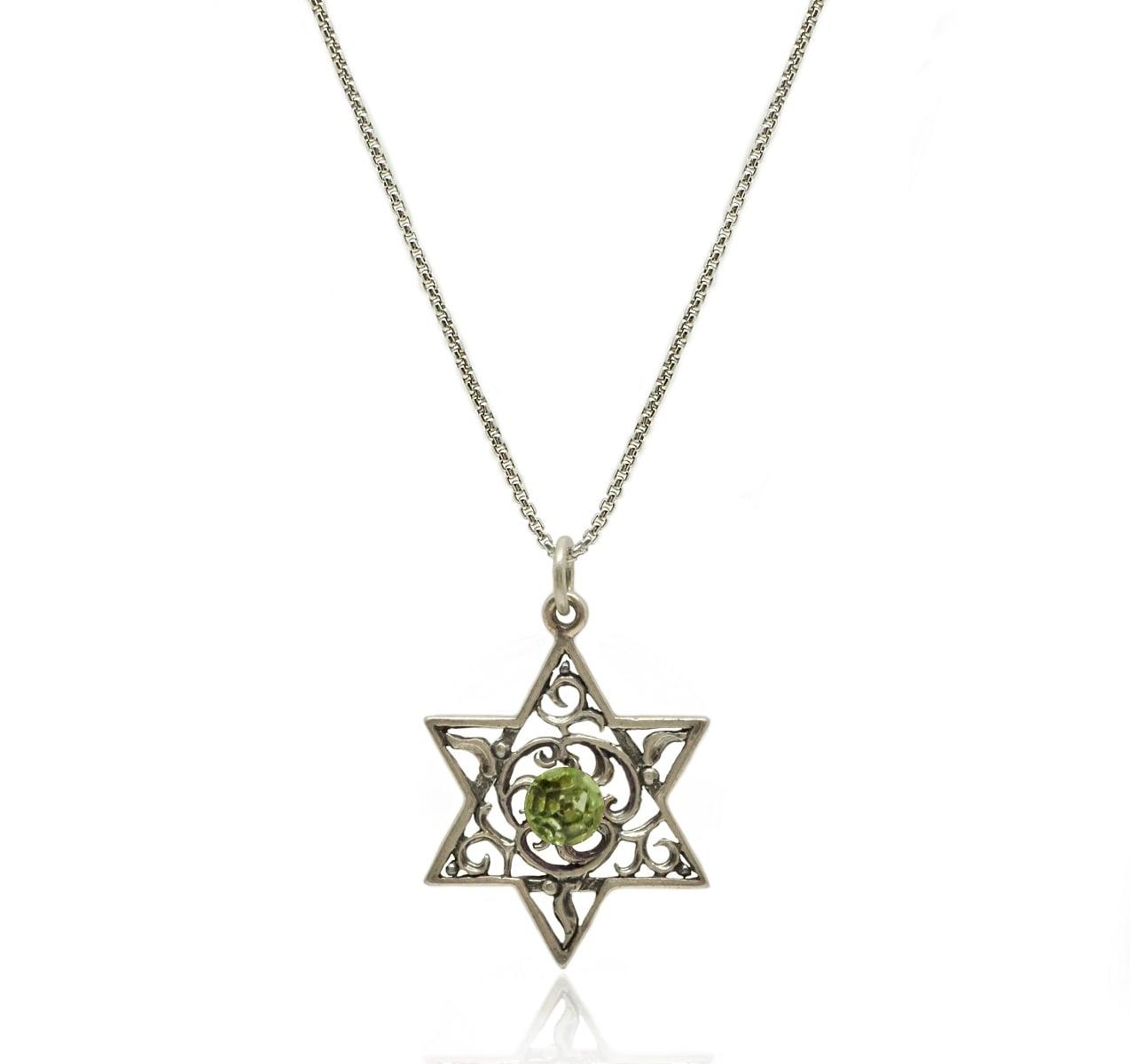 שרשרת ותליון מגן דוד עם אבן צבעונית מכסף 925 מושחר