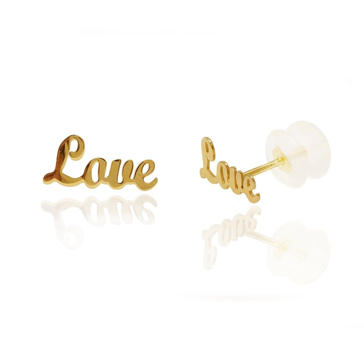 עגילי זהב אהבה LOVE