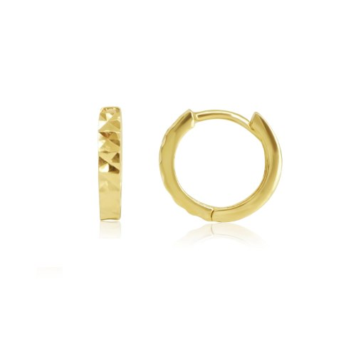 """עגילי חישוק זהב חצי חריטת לייזר דקים 1.2 ס""""מ"""