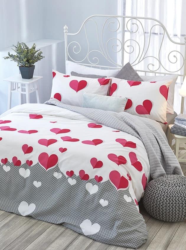 סט מלא מיטה וחצי דגם לבבות