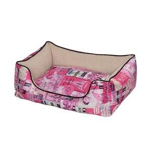 """פטקס מיטה מאויירת לכלב ולחתול צבע ורוד דגם וינטג' 60x50x20 ס""""מ"""