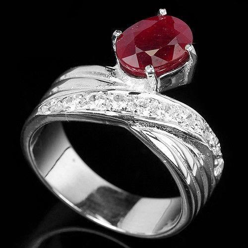 טבעת כסף משובצת רובי וזרקונים RG5591 | תכשיטי כסף | טבעות כסף