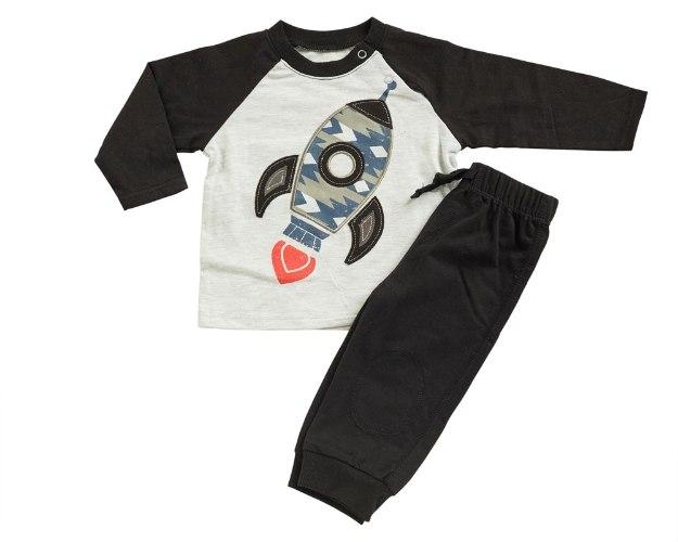 חליפת מעבר חללית שחור מכנס פרנצ׳ טרי