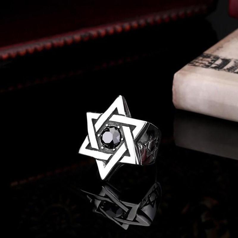טבעת פלדה (Stainless steel) גברים נשים מגן דוד OP111600047-IN